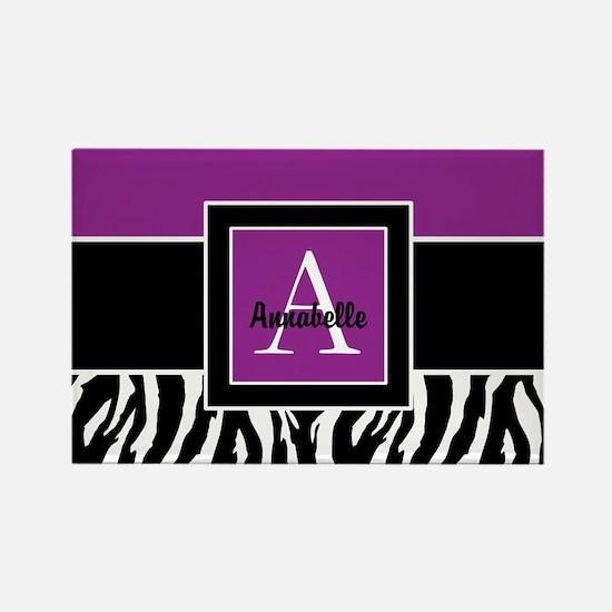 Purple Zebra Monogram Personalized Magnets
