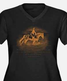 Unique Horse riding Women's Plus Size V-Neck Dark T-Shirt
