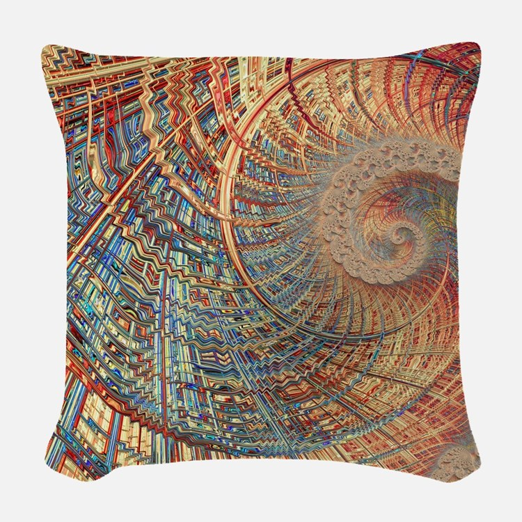 Rollercoaster 2 Fine Fractal Woven Throw Pillow