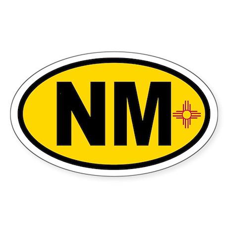 New Mexico Flag Oval Sticker