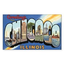 Chicago Postcard Rectangle Decal