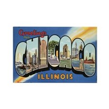 Chicago Postcard Rectangle Magnet