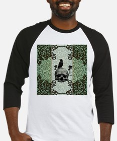 Awesome skull with crow and roses Baseball Jersey