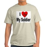 I Love My Soldier (Front) Ash Grey T-Shirt