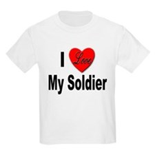 I Love My Soldier (Front) Kids T-Shirt