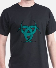 Triple Crescent Moon - Teal Marble T-Shirt