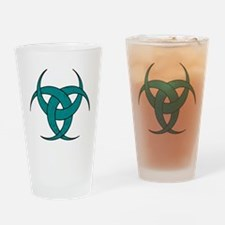 Triple Crescent Moon - Teal Marble Drinking Glass
