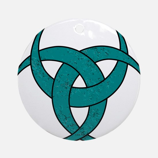 Triple Crescent Moon - Teal Marble Round Ornament