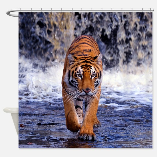 Tiger In Waterfall Shower Curtain