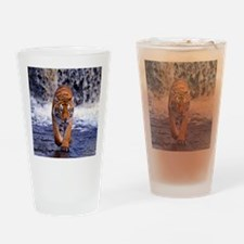 Tiger In Waterfall Drinking Glass