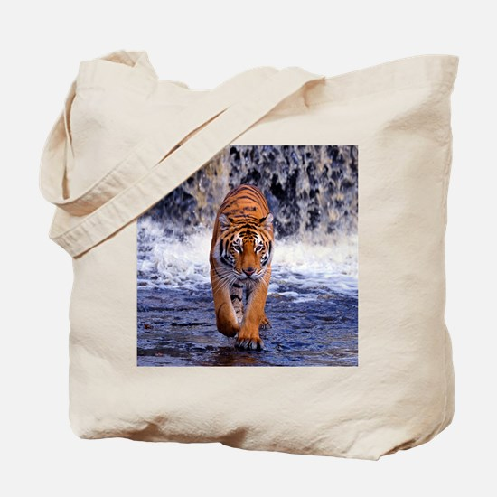 Tiger In Waterfall Tote Bag