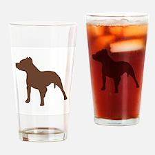Pitbull Brown 1C Drinking Glass