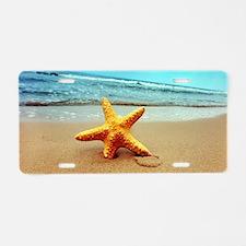 Starfish On The Beach Aluminum License Plate