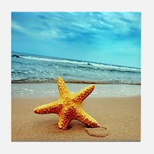 Starfish On The Beach Tile Coaster
