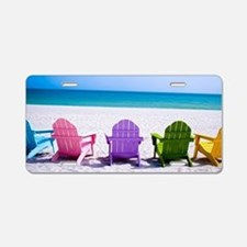 Lounge Chairs On Beach Aluminum License Plate