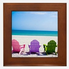 Lounge Chairs On Beach Framed Tile