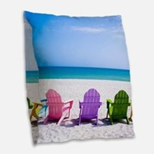 Lounge Chairs On Beach Burlap Throw Pillow