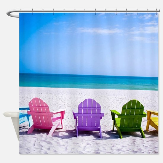 Lounge Chairs On Beach Shower Curtain