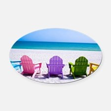 Lounge Chairs On Beach Oval Car Magnet