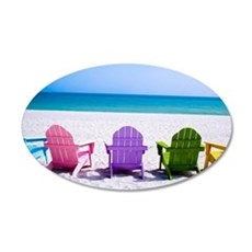 Lounge Chairs On Beach Wall Sticker