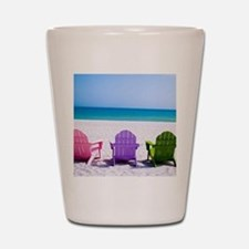 Lounge Chairs On Beach Shot Glass