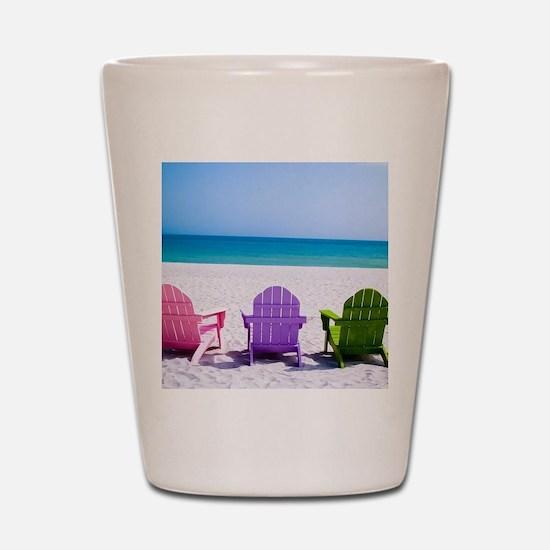 Lounge Chairs On Beach Shot Glass