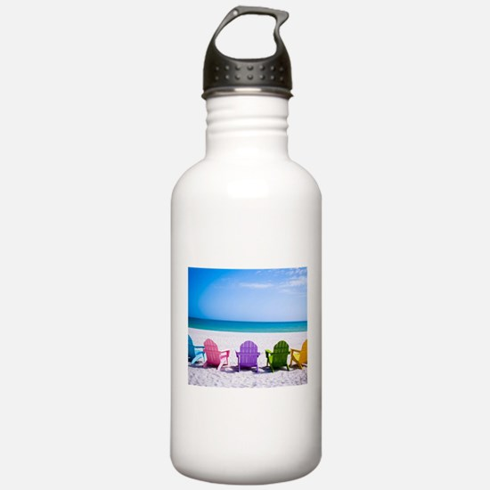 Lounge Chairs On Beach Sports Water Bottle