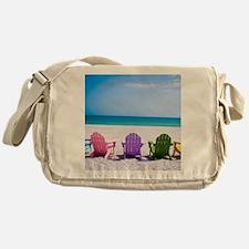 Lounge Chairs On Beach Messenger Bag