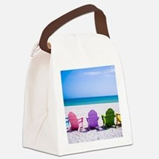 Lounge Chairs On Beach Canvas Lunch Bag