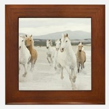 Horses Running On The Beach Framed Tile