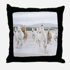 Horses Running On The Beach Throw Pillow