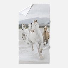 Horses Running On The Beach Beach Towel