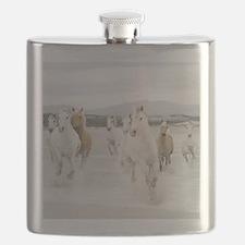 Horses Running On The Beach Flask