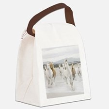 Horses Running On The Beach Canvas Lunch Bag
