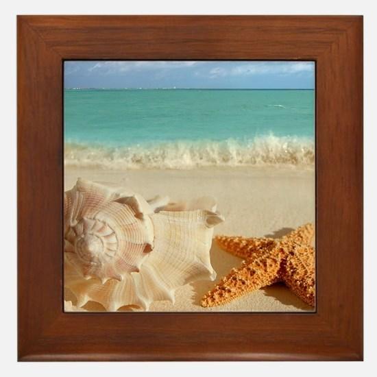 Seashell And Starfish On Beach Framed Tile
