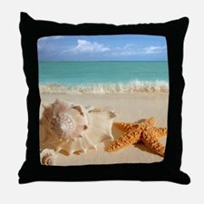 Seashell And Starfish On Beach Throw Pillow