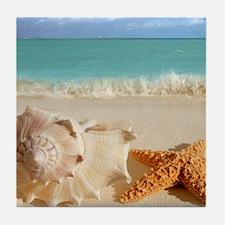 Seashell And Starfish On Beach Tile Coaster