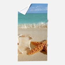 Seashell And Starfish On Beach Beach Towel