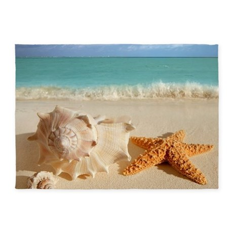 Seashell And Starfish On Beach 5u0027x7u0027Area Rug