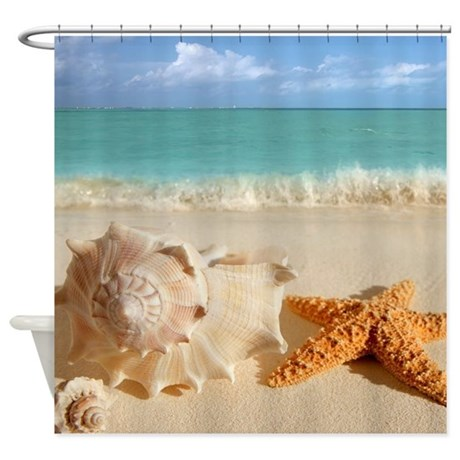seashell and starfish on beach shower curtain by wickeddesigns4