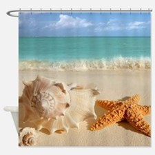 Seashell And Starfish On Beach Shower Curtain