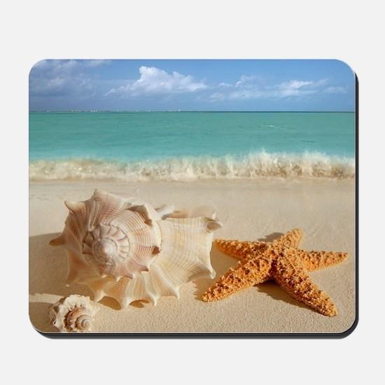 Seashell And Starfish On Beach Mousepad