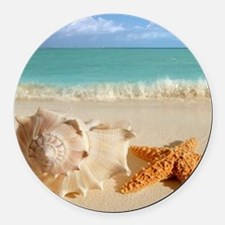 Seashell And Starfish On Beach Round Car Magnet