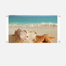 Seashell And Starfish On Beach Banner