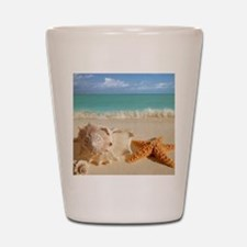 Seashell And Starfish On Beach Shot Glass