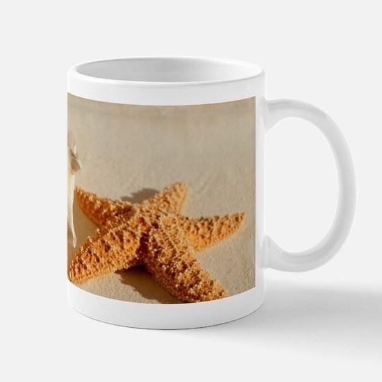 Seashell And Starfish On Beach Mugs