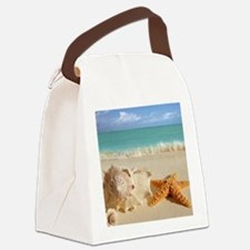 Seashell And Starfish On Beach Canvas Lunch Bag