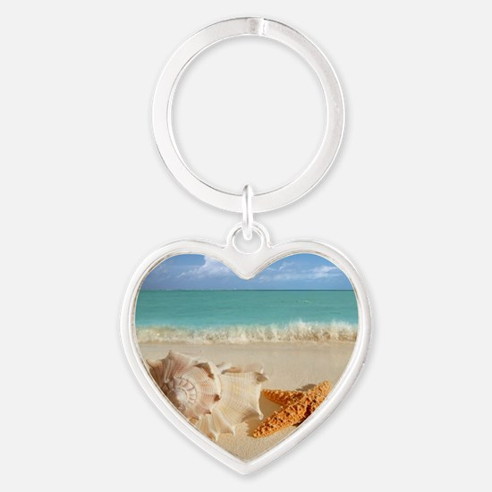 Seashell And Starfish On Beach Keychains