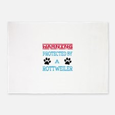 Warning Protected by a Rottweiler 5'x7'Area Rug