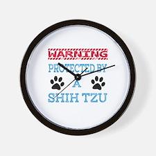 Warning Protected by a Shih Tzu Wall Clock